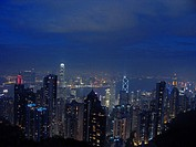 Central District by night with the International Finance Centre and the Bank of China Tower, China, Hongkong