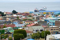 view of the town, Chile, Magallanes, strait of Magellan, Punta Arenas