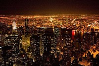 Night view from top of Empire State Building New York NYC USA United States of America