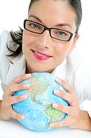 Blue global world map sphere in businesswoman hands over white
