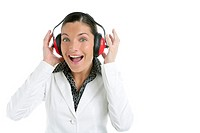 Businesswoman and safety headphones with humor expression over white background