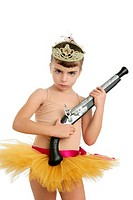 Beautiful little ballerina girl with blunderbuss weapon power and innocence