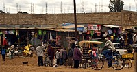 Local people, shops and Kenyan culture in a village close to the Equator, Kenya