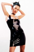 young darkhaired woman in skintight black latex dress