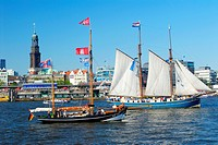 birthday of Port of Hamburg, sailboats in front of St. Michaelis, Germany, Hamburg
