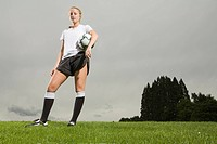 Portrait of female soccer player