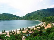 Bay with large beach and palms on the carribean island Trinidad, Trinidad and Tobago, Trinidad