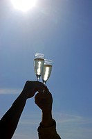 clinking glasses of sparkling wine at a champagne breakfast in the desert, Namibia, Swakopmund