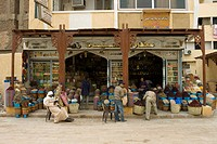 Characteristic shop at the Sharia as_Souq, Bazar, Aswan or Assuan, Nile Valley, Egypt, Africa