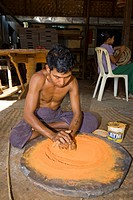Burmese man making pottery, Bagan, Burma, Myanmar, Southeast Asia