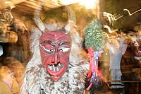 Haberer, masked German figure, folklore, Christmas market, Muehldorf am Inn, Upper Bavaria, Bavaria, Germany, Europe