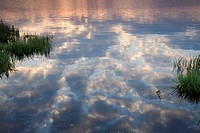 clouds mirroring on storage lake Poehl in the morning, Germany, Saxony, Jocketa