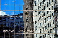 glass cladding of the Broad Financial Center in the Financial District, USA, New York City, Manhattan