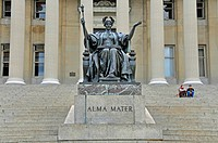 Alma Mater statue in front of the Low Library of Columbia Univerisity, USA, New York City, Manhattan