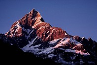 Himalayan SUNSET on MACHUPUCHARE also know as Fishtail Peak _ ANNAPURNA REGION, Nepal, Himalaya