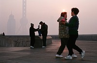 Chinese dancing on a square in the early morning, China, Shanghai