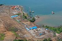 Refinery and harbour premises being built, at a nickle mine, chinese mining association, Basamuk, Papua New Guinea, Melanesia