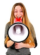young handsome women screaming into the megaphone