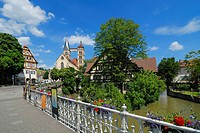 View from Agnes' Bridge onto the Neckar River and Saint Dionysius' Church, Esslingen am Neckar, Baden-Wuerttemberg, Germany, Europe
