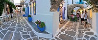 Panorama of an alley in Mykonos, Cyclades, Greece, Europe