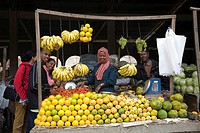 Fruit stall on the market, Asmara, Eritrea, Horn of Africa, East Africa