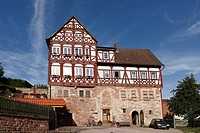 Maienhof, half_timbered building in Wasungen, Rhoen, Thuringia, Germany, Europe