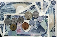 Japanese money, Yen coins and bills, Tokyo, Japan, Europe