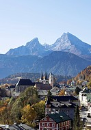 Germany, Bavaria, exterior of buildings with Watzmann in background