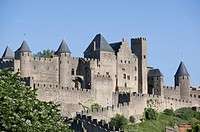 France, Departement Aude, Carcassonne, Battlement