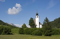 Germany, Bavaria, Berchtesgadener Land, Church in landscape