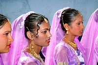 Girls of Indian ethnicity at a Hindu Festival in Georgetown, Guyana, South America