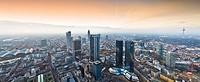 Panorama shot, skyline featuring the Sparkasse- and Convention Towers and central rail station, sunset augmented using camera equipment, Frankfurt, He...