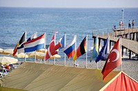 Turkey, Alanya, Flags on the beach