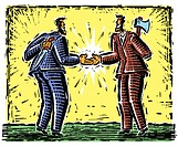 Illustration, Businessmen shaking hands while concealing daggers