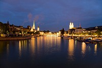 Switzerland, Zurich, Fraumünster, cityscape at night