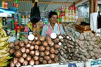 Woman selling cassava (Manihot esculenta) in the market square at Georgetown, Guyana, South America