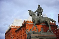 Russia, Moscow, Monument of Marshal Zhukov