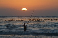 Man fishing in sea at sunset, Melkbos, Cape Town, Western Cape Province, South Africa