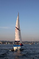 Sailing around Poole Harbour in summer, England