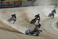 Short track race, international motorcycle race on a dirt track speedway in Muehldorf am Inn, Upper Bavaria, Bavaria, Germany, Europe