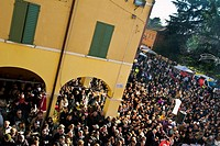 The biggest zampone of the world, crowd awaiting giant zampone Castelnuovo Rangone - Modena, Italy