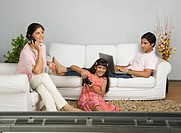 Family involved in different leisure activities