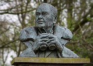 Bust of Sir Peter Scott, founder of the Wildlife and Wetlands Trust, at Martin Mere WWT in Lancashire