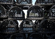 Unused lobster pots at Ilfracombe Harbour and Quay, Ilfracombe, North Devon, United Kingdom