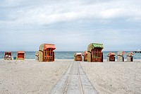 beach chairs at the Baltic Sea, Germany, Schleswig_Holstein, Niendorf