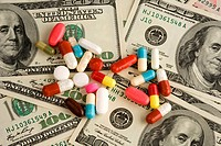 Dollar banknotes and medicines, USA