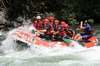 Whitewater rafting on a mountain river in the Pyrenees near Rialp, Catalonia, Spain, Europe