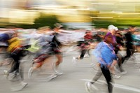 Motion blur of runners at the start of the 2009 Chicago Marathon