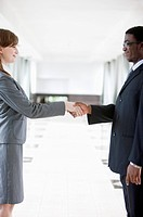 Business people of different colors shaking hands together and smiling