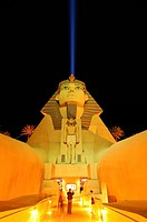 Sphinx replica and the space beam, main entrance to the Luxor Hotel & Casino, Las Vegas Boulevard, Las Vegas, Nevada, USA, North America